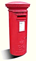 bright red Royal Mail pillar box