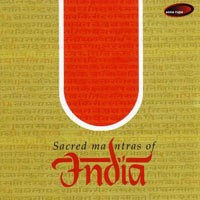 Sacred Mantras Of India CD cover art, inverted red lingam, with white border, above album title in black and red script